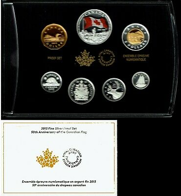 Canada 7-Coin Fine Silver Proof Set 2015 Gem Canadian Flag 50Th Anniversary