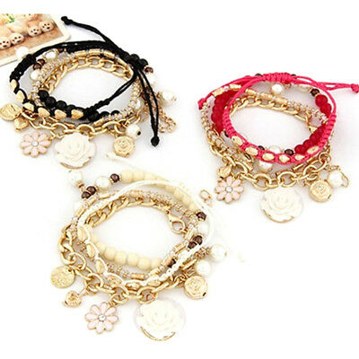 Women Fashion Bohemia Vintage Multi Layer Flower Bracelet Elastic Beaded Bangle
