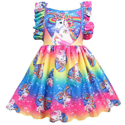 Kids Girls Unicorn Rainbow Princess Fancy Pageant Ball Gown Party Skater Dresses