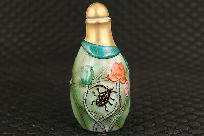 Rare Chinese old porcelain hand painting lotus statue snuff bottle
