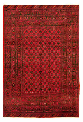 "Hand-knotted Carpet 6'6"" x 9'7"" Traditional Vintage Wool Rug"
