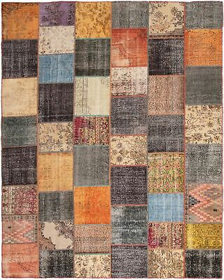 "Hand-knotted Turkish 11'2"" x 14'1"" Color Transition Patchwork Rug"
