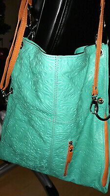 Turquoise Color Italy Very Pretty Modern Satchel Leather Bag