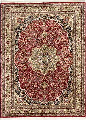 "Hand-knotted Carpet 9'7"" x 12'7"" Kashmir Traditional Wool Rug"