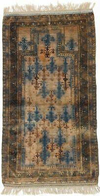"Hand-knotted Carpet 2'9"" x 5'1"" Traditional Vintage Wool Rug"