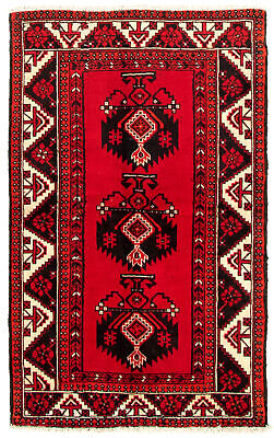 "Hand-knotted Carpet 3'11"" x 6'1"" Traditional Vintage Wool Rug"