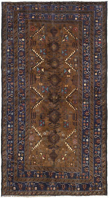 "Hand-knotted Carpet 3'11"" x 7'4"" Traditional Vintage Wool Rug"