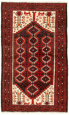 "Hand-knotted Carpet 3'5"" x 6'0"" Traditional Vintage Wool Rug"