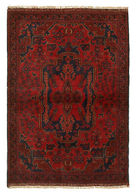 "Hand-knotted Carpet 3'4"" x 4'9"" Traditional Vintage Wool Rug"