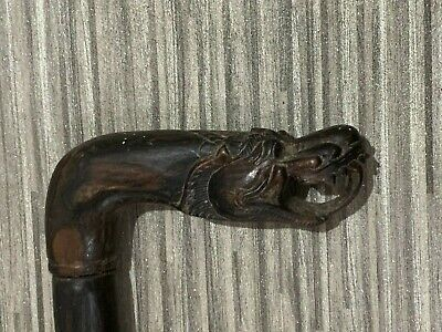 Antique / Old oriental / Chinese dragon carved wood walking stick.