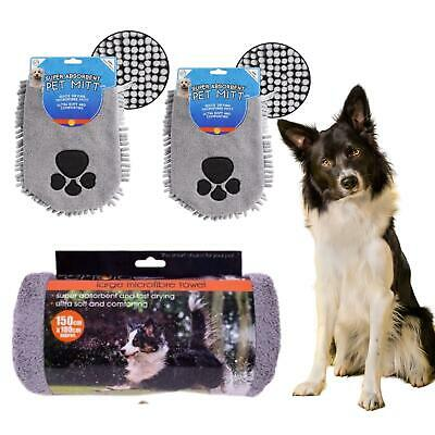 Pet Microfiber Dog Drying Set Large Towel Drying Mittens Hair Removing Quick Dry