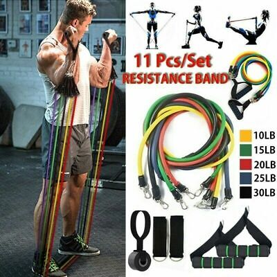 US Seller -Resistance Band 11 Piece Set Yoga Pilates Abs Exercise Workout Band