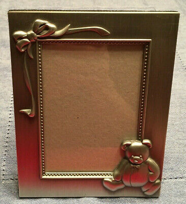 """Teddy Bear Pewter Picture Frame(3 1/2 x 5"""" Photo)"""
