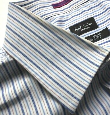 PAUL SMITH London blue striped cotton F. Cuff Sz 16.5 made in Italy