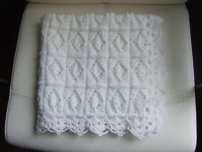 "White Hand Knit Crochet Blanket 27"" X 27"""
