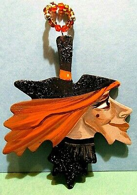 Original Ooak Hand Painted Halloween Ryta Glitter Ornament Witch Vintage Style