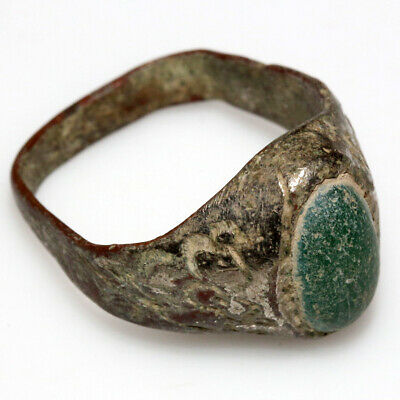 Near East Circa 1000-1400 Ad Silver Plated Ring With Nice Unknown Green Stone