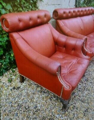 Vintage Red Leather Regency Style Buttoned Library Sofa & 2 Armchairs