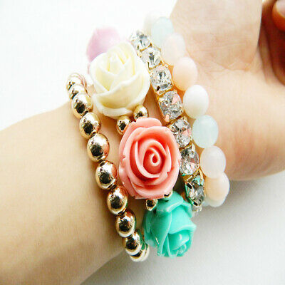New 4Ps/Set Multi-Color Multilayer Stretch Acrylic Beaded Flower Bracelets Women