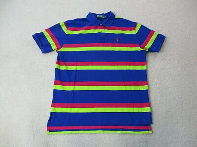 Ralph Lauren Polo Shirt Adult Large Blue Green Striped Pony Casual Rugby Mens
