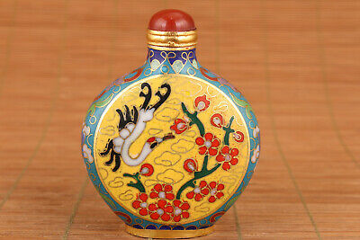 chinese cloisonne hand painting crane statue figure collectable snuff bottle