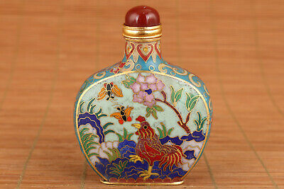 Fortune chinese cloisonne hand painting cock statue collectable snuff bottle