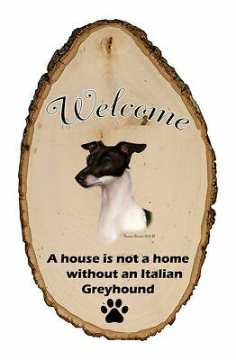 Outdoor Welcome Sign (TB) - Black and White Italian Greyhound 51430