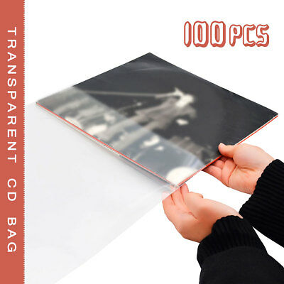 100PCS Antistatic Clear Outer Plastic Cover Sleeves For 12'' LP LD Vinyl