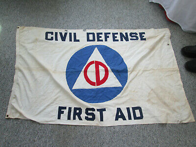 Large World War II Civil Defense First Aid Flag 58 by 36 Inch with Grommets 5129