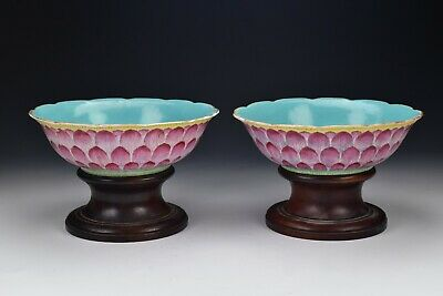 Signed Chinese Famille Rose Porcelain Lotus Bowls Qianlong Mark