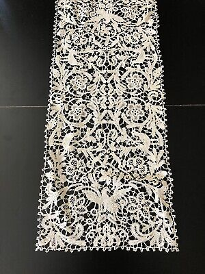 Antique Lace - Fine Milanese Lace Table Runner With Birds,Flowers