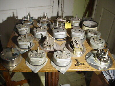 Lot (14) Sonceboz Swiss Jeweled Key Wind Chart Recorder Clock Movements & Parts