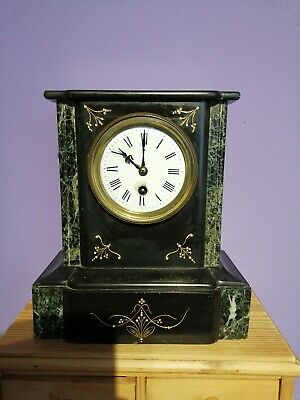 Antique French Black Slate and Marble Mantle Clock Victorian