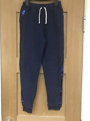 Girls Navy Blue Sequin Jogging Bottoms Trousers Age 9 Year By TU