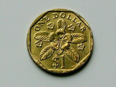 Singapore 1989 $1 DOLLAR Coin AU+ with Toned-Lustre & Security Edge