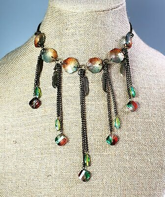 Rainbow Crystal Feather Boho Tribal Choker Necklace Antiqued Bronze