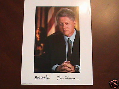 Prepinted Autographed photo of U.S. President Bill Clinton