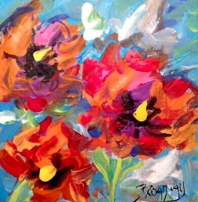 Broadway Original Abstract Acrylic 3x3 in. Colorful Floral painting