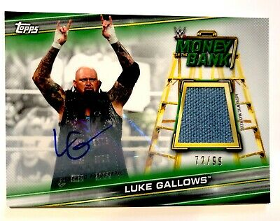 Wwe Luke Gallows Mano Firmado Autografiado Topps Carta 72/99 Auto RELIC Tapete