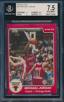 1984-85 STAR BASKETBALL Michael Jordan BULLS ROOKIE CARD #101 BGS 7.5 W/ 9.5!