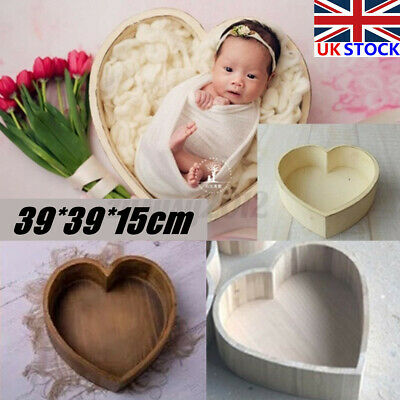 Wooden Heart Bed Photography Prop Cot Baby Photo Newborn Photographic #
