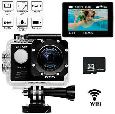 4K WiFi Sports Action Camera Ultra HD 16MP 170Wide Angle Waterproof DV Camcorder