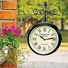 New Double-sided Garden Paddington Station Wall Clock Classic Iron Frame BS1