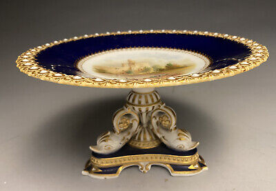 English Chamberlains Worcester Gold Gilt Dolphin Footed Compote Wressle Castle