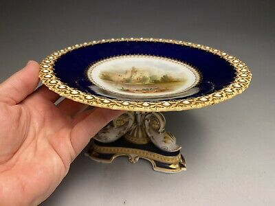 Chamberlains Worcester Dolphin Foot Porcelain  Compote North Cliff Scarborough
