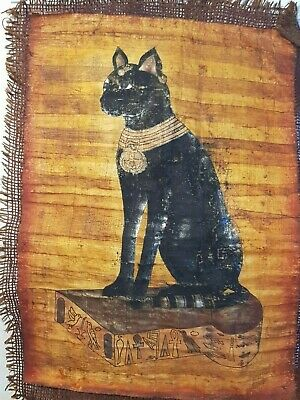 Rare Antique Ancient Egyptian Papyrus God Black Cat Scarab Eye Protection1720BC
