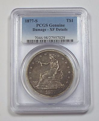 PCGS Genuine 1877-S Trade Dollar XF Details Silver $