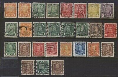 Canada 149//229 Selection Of 27 Kgv Scroll Arch/Leaf Issues W/ Coils Used Cv$90