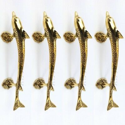 4 medium DOLPHIN handle DOOR PULL solid pure brass hollow old aged style 30 cm B