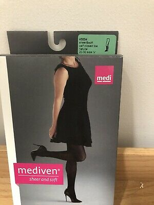 MEDIVEN SHEER SOFT MEDICAL COMPRESSION STOCKINGS Calf 20-30 NATURAL SIZE IV